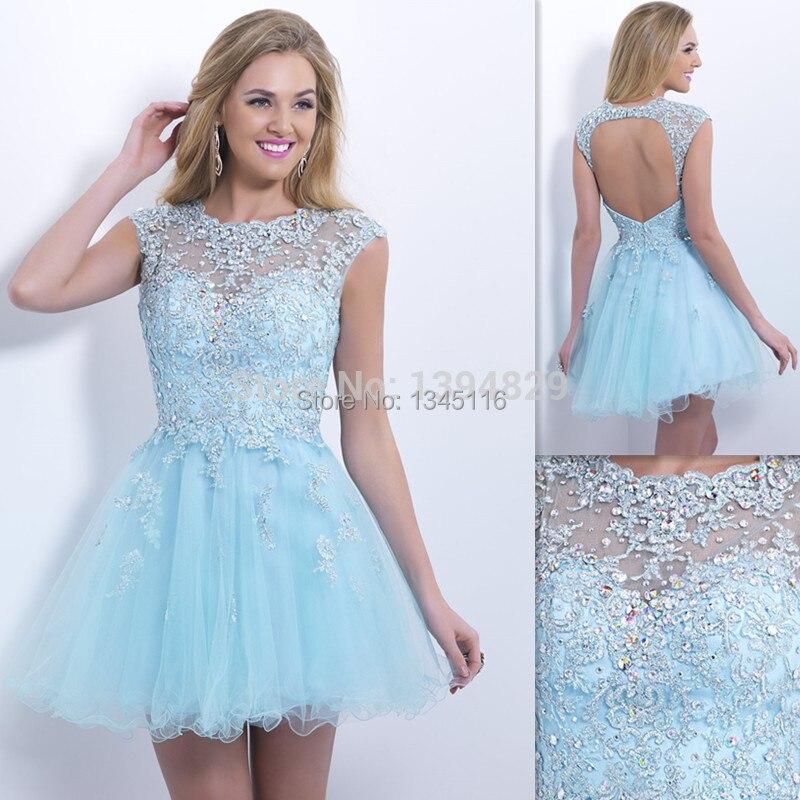 2016 Fashion Light Sky Blue Short Prom Dresses Beach Sheer Cap ...