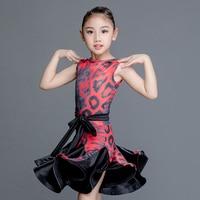 Fashion Children'S Latin Dance Dress Girls Practice Clothes Printed Milk Silk Ballroom Salsa Dresses Dancing For Kids DL3198