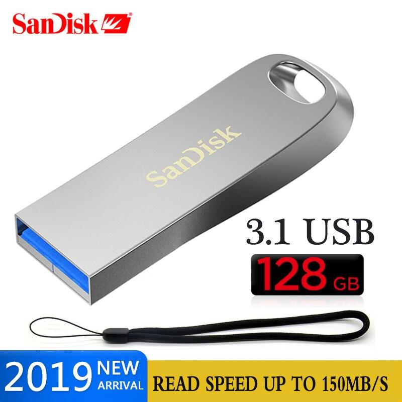 128GB De SanDisk USB3.1 Flash Drive 16GB Pendrive 32GB De Memoria 64G Mini Metal Llave USB Para Computadora Portátil /tableta/PC