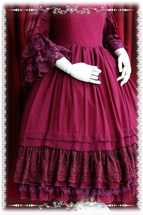 Precioso vestido clásico personalizado Lolita manga acampanada volantes gasa Vintage OP vestido de Infanta-in Vestidos from Ropa de mujer    3