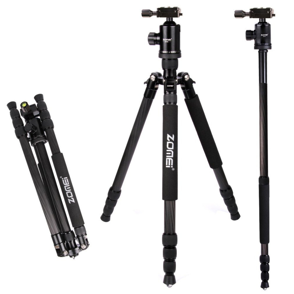 ZOMEI Z888C lightweight Portable Professional Travel Camera Tripod Monopod & Ball Head With Case For DSLR Camera Camcorders aluminium alloy professional camera tripod flexible dslr video monopod for photography with head suitable for 65mm bowl size