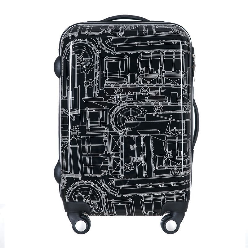 ABS PC zipper Travel luggage Bag,High Quality 20/24 Mechanical pattern Suitcase Bags, Spinner wheel Aluminium Alloy Rod Trolley cottelli m