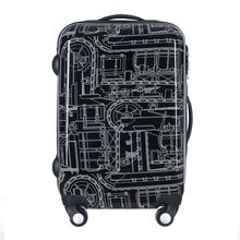 ABS PC zipper Travel luggage Bag,High Quality 20/24″ Mechanical pattern Suitcase Bags, Spinner wheel Aluminium Alloy Rod Trolley