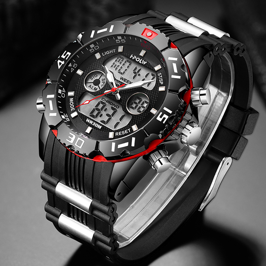 Fashion Sport Super Cool Men's Quartz Digital Watch Men Sports Watches HPOLW Luxury Brand LED Military Waterproof Wristwatches
