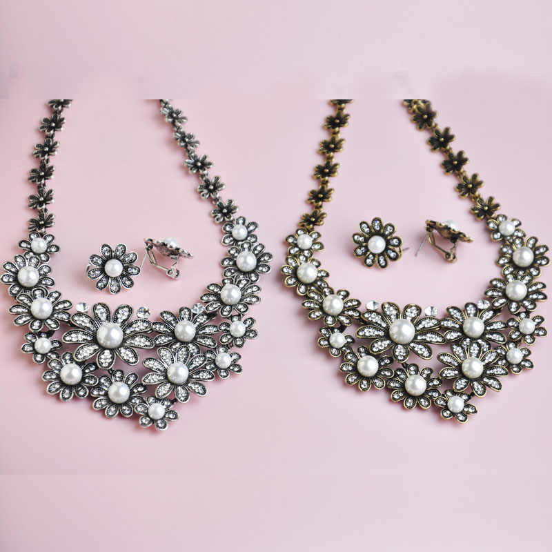 Blucome Vintage Women Jewelry Sets Flower Artificial Pearls Necklace Earrings Set Crystal French Hooks Brincos Pendant Colar