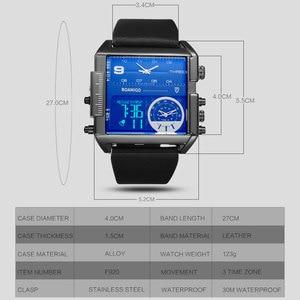 Image 5 - BOAMIGO Sport Fashion Men Military Dual Time Watch Multiple Time Zone Luxury Chronograph Watch Leather Square Quartz Wristwatch