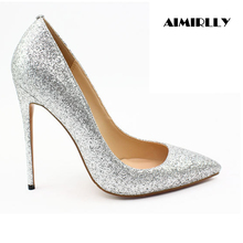 Women Shoes Pointed Toe High Heels Pumps Glitter Spring Summer Party Wedding Shoes Sexy Thin Heels Pink Silver Black fashion women pointed toe chunky high heels sexy patent leather shoes women pumps lazy shoe pink black red silver wedding heels