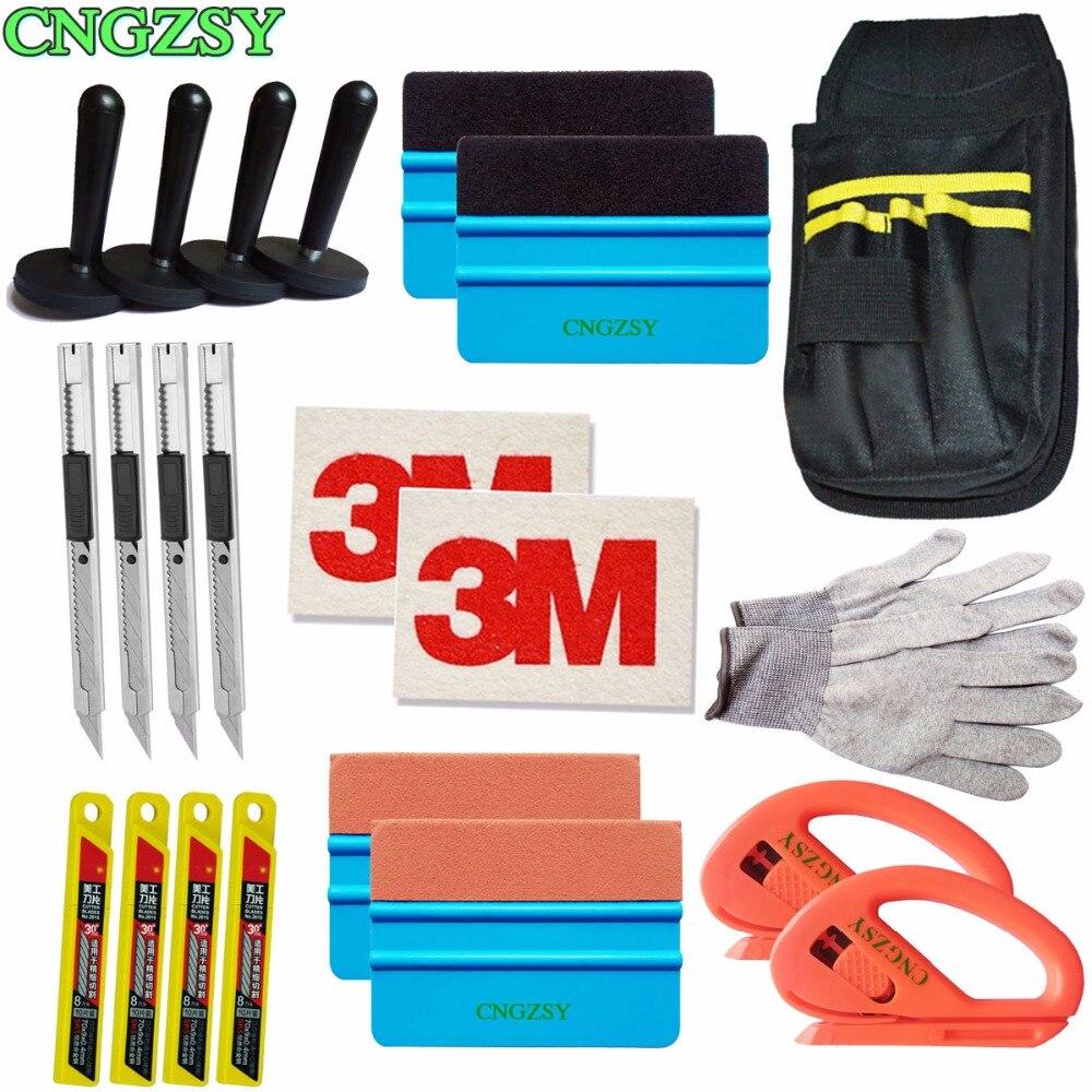 Snap-off Coltello Vinile Sicurezza Cutter Magnet Holder Tools Bag guanti di Pelle Scamosciata Feltro Bordo Seccatoio Ruspe Kit Veicolo Auto avvolgimento K27