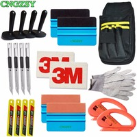 Snap off Knife Vinyl Safety Cutter Magnet Holder Tools Bag gloves Suede Felt Edge Squeegee Scraper Kit Vehicle Car Wrapping K27