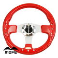 Deep Dish Stitch 3 Silver Spokes 340mm PVC Carbon Fiber Style  Steering Wheel Red
