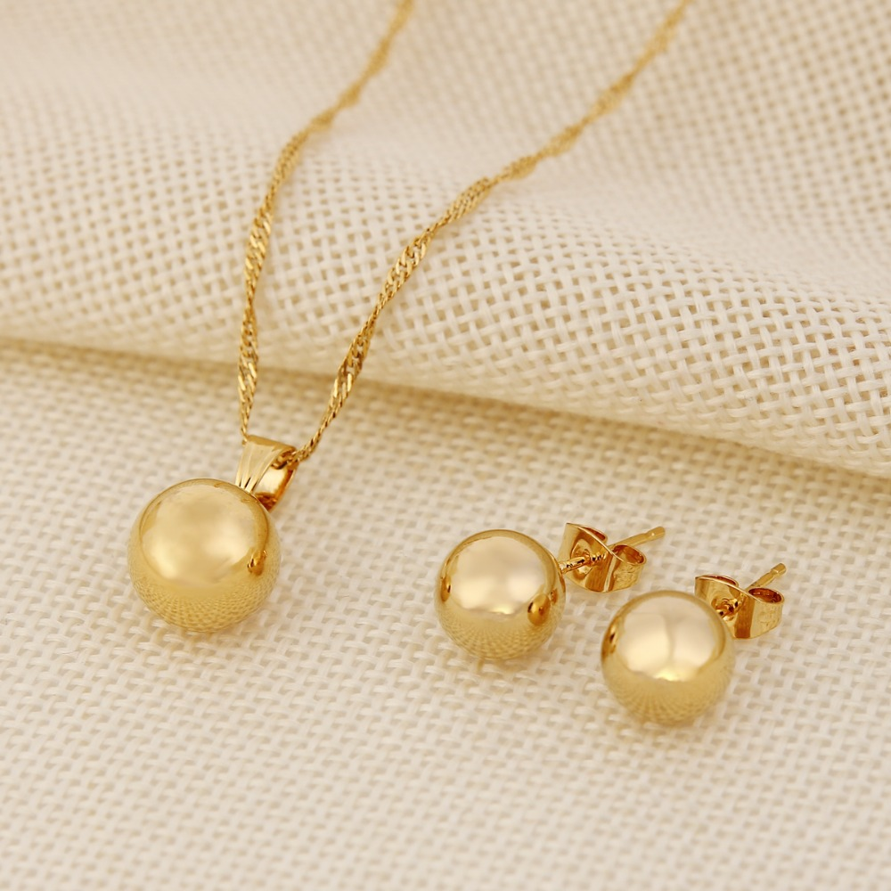 Ball Round Pendant Necklace Ball Round Earrings Jewelry Gold Women Best Party Jewelry