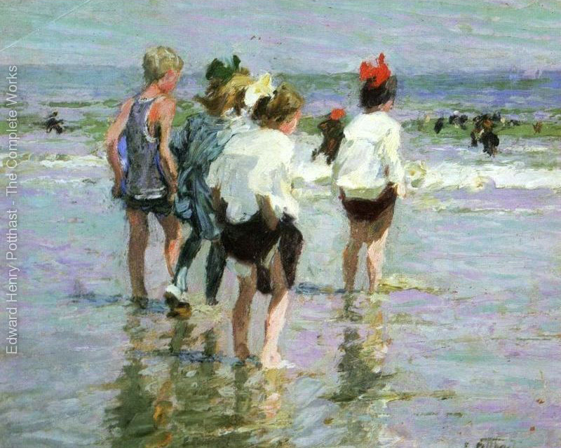Children beach oil painting Summer Day Brighton Beach by Edward Henry Potthast High quality Hand painted Canvas Art Home Decor