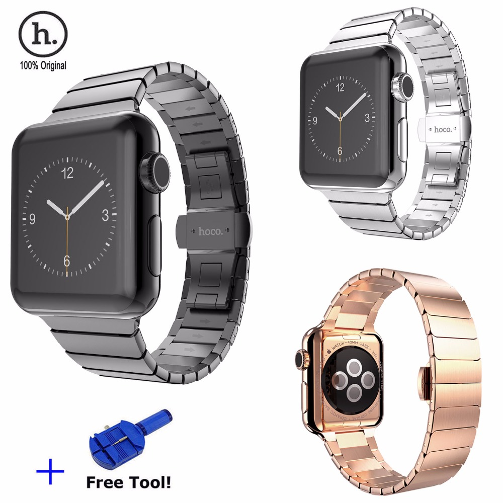 Original HOCO Luxury Butterfly Lock Link Bracelet Stainless Steel Strap For Series 2 Watch Band for