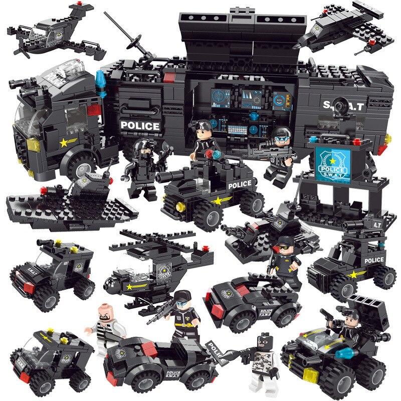 New LegoINGlys Police Series Cars Airplane Robot DIY Model Building Blocks Kit Children Educational Toys for Children Boys Gifts