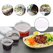 Heart Shape Clear Plastic Sauce Cup Pot Chutney Cups Food Container Slime Foam Mud Storage Box Case With Lid 120ml(China)
