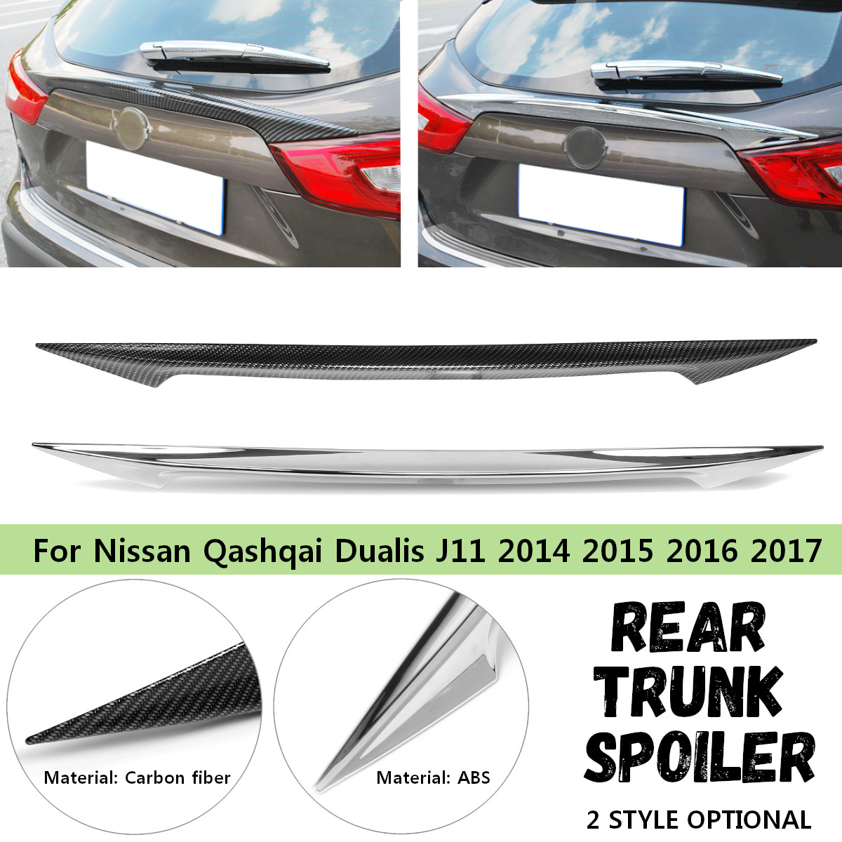 Car Rear Trunk Tail Gate Spoiler Wing Cover Sticker Carbon Fiber ABS for Nissan Qashqai Dualis J11 2014 2015 2016 2017 2018 2019 Spoilers & Wings     - title=