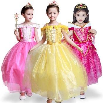 8f7c6668e Vestidos para niñas Cenicienta blanca nieve Cosplay disfraz Elsa Aurora  niños princesa vestidos de fiesta niños Navidad Fantasía