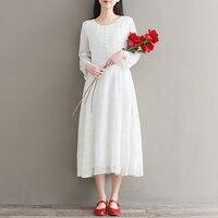 2018 New Spring Women dress Literature Full sleeve Long Dresses White 9196
