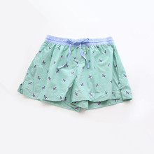 women cute green bird print cotton pajama shorts women loose summer print pajama hot shots sleepwear bottoms
