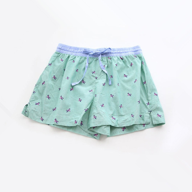 bad0387401b2 Women Cute Green Bird Print Cotton Pajama Shorts Women Loose Summer Print  Pajama Hot Shots Sleepwear Bottoms