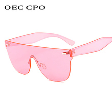 Oversized Rimless Sunglasses Women Men Brand Square Candy Coloured womens Transparent Frameless Eyewear O26