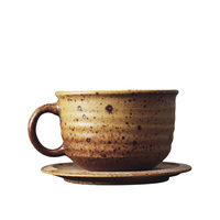 Handmade Japanese style stoneware coffee cup and saucer set Ideas simple glass vintage gift mugs
