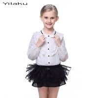 ファッションの女の子服セット長袖女の子白いブラウスシャツ+チュチュスカートセット子供服スーツキッズCF383