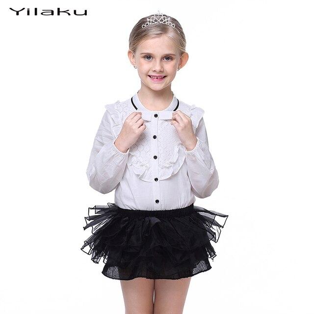 2017 Moda Conjuntos de Roupas Meninas Menina Manga Longa Blusa Branca camisas + Saia Tutu Conjunto de Roupas Crianças Suit Crianças Outfits CF383