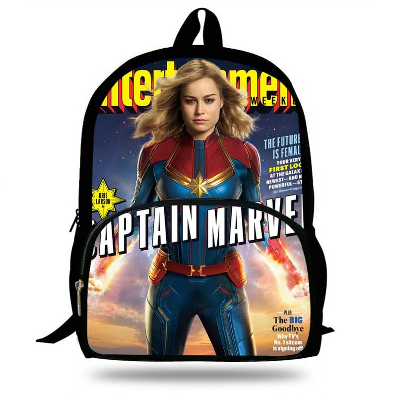 2019 polegada Prevalente 16 Capitão Marvel Mochila Impressão Mochila Para A Escola Para Adolescentes Meninos Meninas Saco de Super-heróis Para Crianças Estudantes