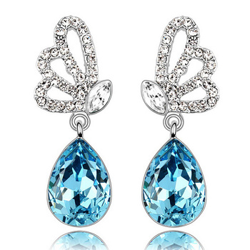 hollow wing water drop Austrian Crystal butterfly Earrings fashion jewelry summer party women free shipping wedding.jpg 350x350 - Earrings For Women