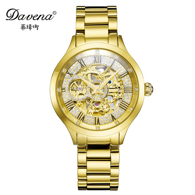 Women's New Steel Luxury Automatic Self-wind Wristwatch Women Dress Watches Fashion Casual Watch Famous Brand Davena 60859 Clock binger genuine gold automatic mechanical watches female form women dress fashion casual brand luxury wristwatch original box
