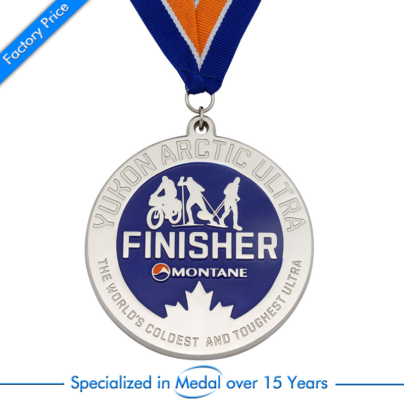 sports medals cheap custom bike finisher sports silver medal high quality custom hard enamel medals ribbons in Non currency Coins from Home Garden