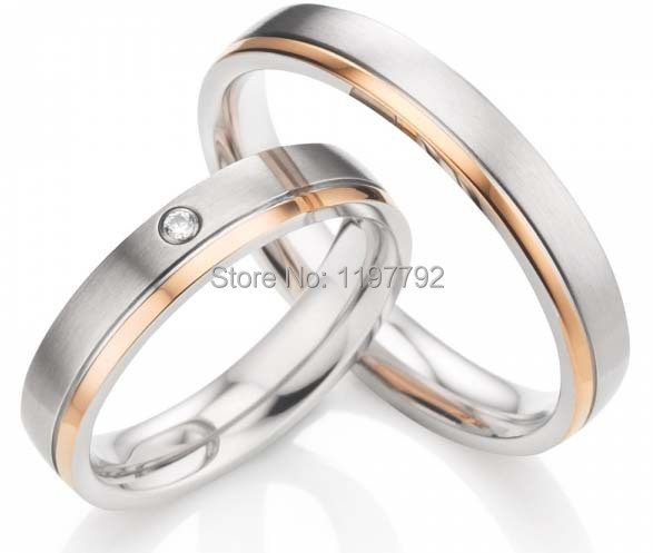 2014 Fashion Jewelry  4mm  rose gold colour titanium engagement rings wedding bands promise rings sets2014 Fashion Jewelry  4mm  rose gold colour titanium engagement rings wedding bands promise rings sets