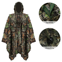 Tactical 3D Leaf Woodland Cloak Camouflage Hunting Clothes Ghillie Suit Outdoor War Game Airsoft Men Poncho Windbreaker