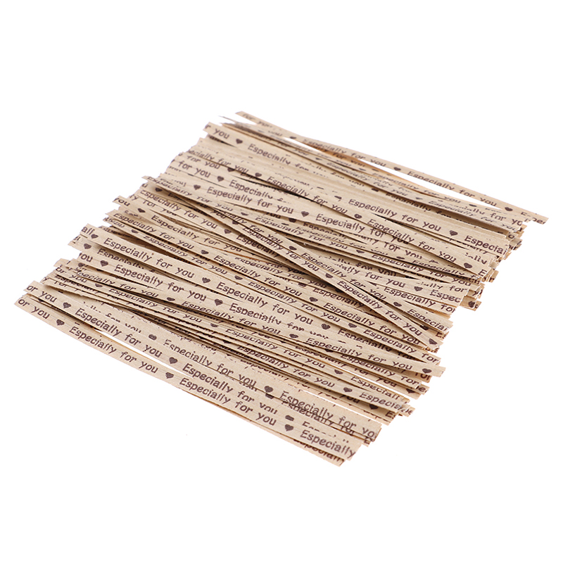 100PCS/Bag Ribbon Wrap Tie Kraft Paper Ligation For Cellophane Candy Cookie Gift Bag Pouch In Wedding Party Decoration