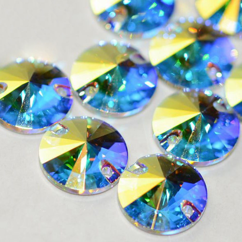 Crystal-Castle-Sew-On-Rhinestones-5A-Rivoli-Round-Strass-Glass-Crystals-for-Sewing-Stone-Two-Holes