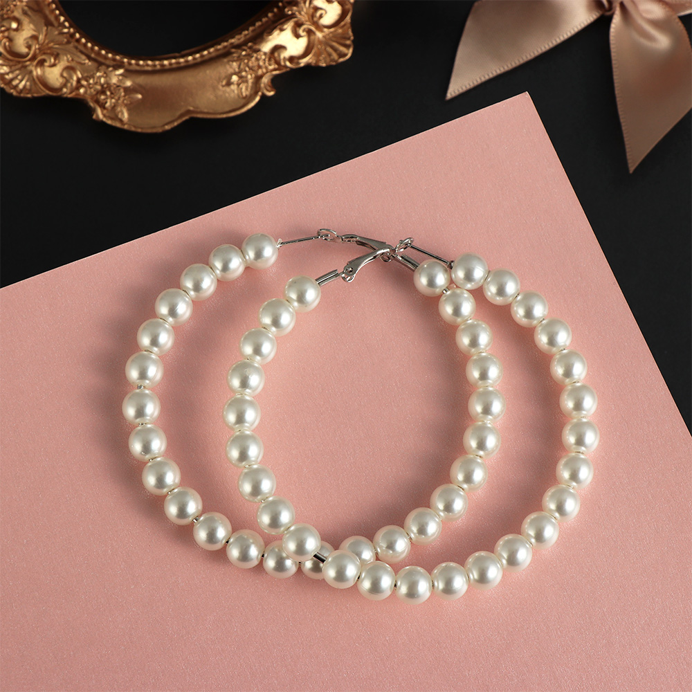Elegant White Pearls Hoop Earrings Women Oversize Big Circle Fashion Jewelry