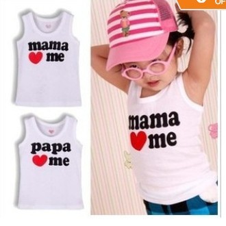 Free Shipping 2pcs, I love baba mama baby T shirt, mama love me papa love me baby vest T Shirts, white kids baby T Shirt  CL0142