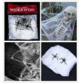 Halloween Scary Party Scene Props White Stretchy Cobweb Spider Net +4 Spiders Horror Decoration Haunted House Toys TY0089