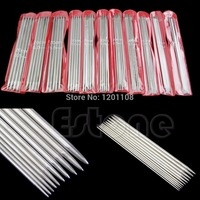 E74 New 55Pcs 11sizes 7 9 20cm Double Pointed Stainless Steel Knitting Needles