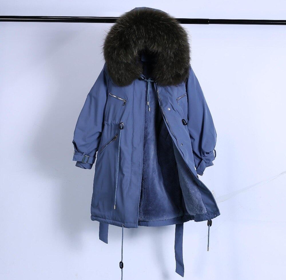 Large Natural Raccoon Fur Winter Jacket Women Hooded 19 Long Parkas For Female Thick Slim Down Winter Coat Women Waterproof 54