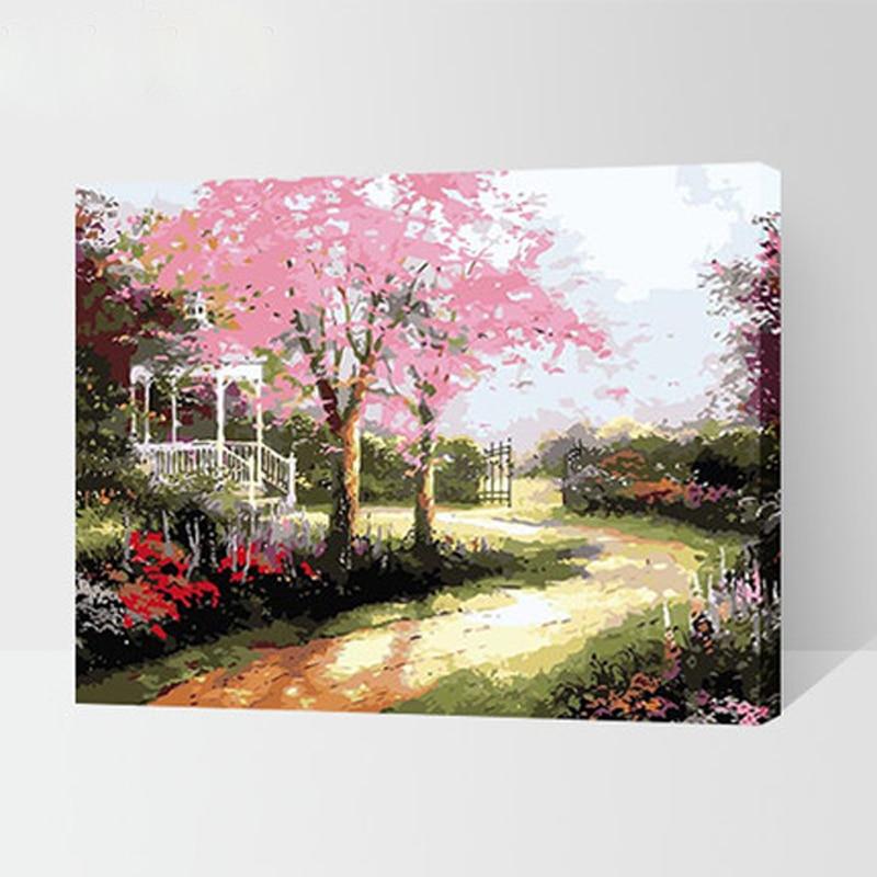 jardn paisaje pared cuadros para dormitorio pintura de diy por nmeros hecho a mano la pintura