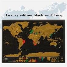 Nova viagem mapa do mundo scratch folha de ouro preto scratch mapa fora da folha camada revestimento mapa do mundo luxo viagem presente mapa mundi