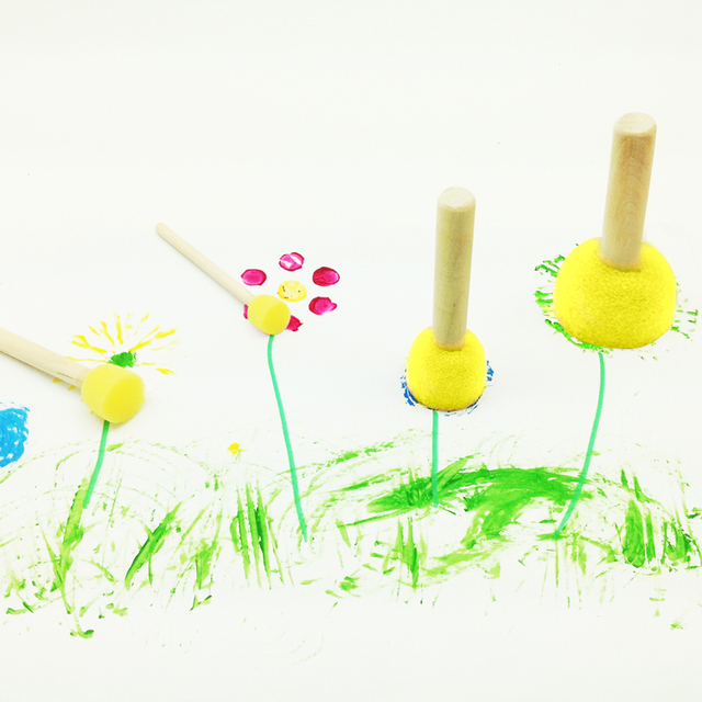 4pcs yellow sponge brush seal sponge paint brush wooden handle childrens painting graffiti kids - Pictures To Paint For Children