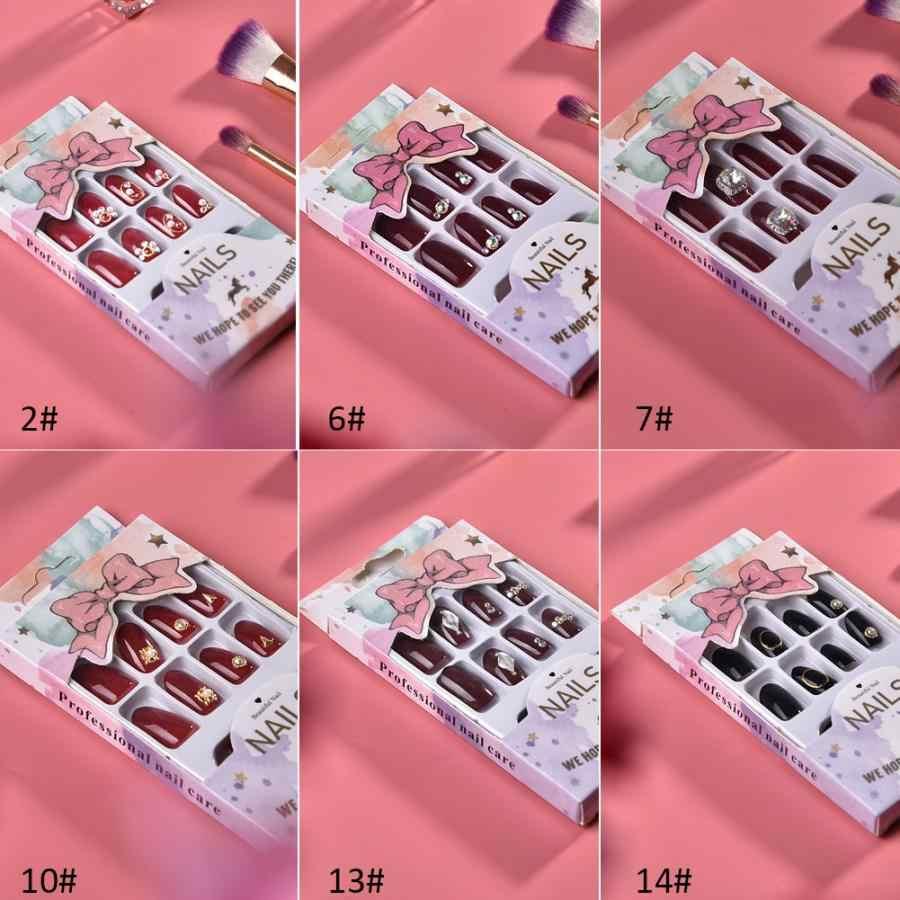 เคล็ดลับเล็บ 24 ชิ้นเล็บปลอมเล็บเทียมมือทำเล็บมือตกแต่งเล็บปลอมกับกาว