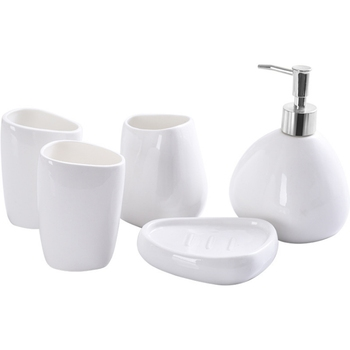 Ceramics Bathroom Accessories Set Soap Dispenser/Toothbrush Holder/Tumbler/Soap Dish Cotton Swab Aromatherapy Bathroom Product