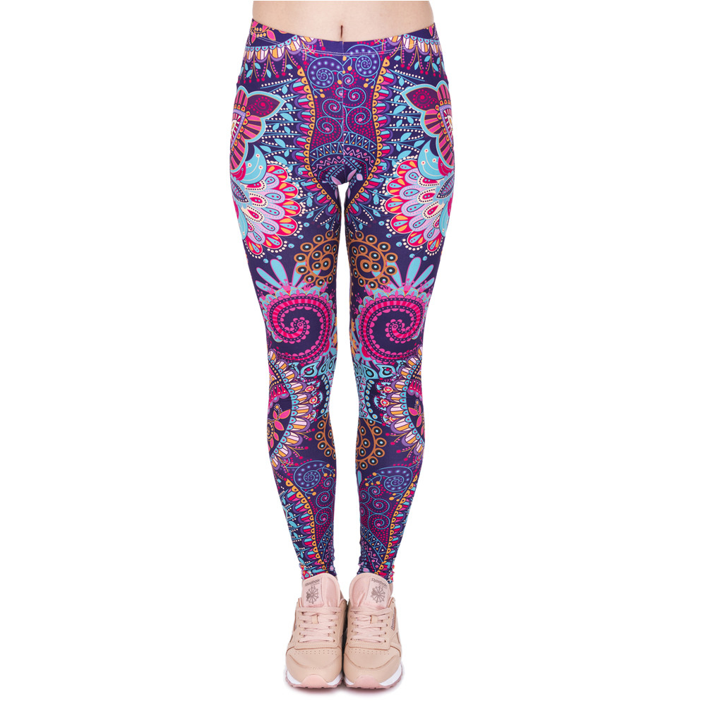 Fashion Retro Women Legins Mandala Flowers Pink Printing Legging Woman Cozy High Waist Leggings