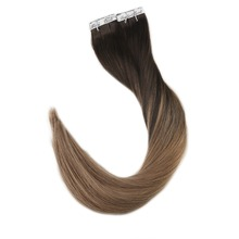 Full Shine Ombre Color # 2 Dark Brown Fading to Color # 8 Pegamento en cinta Hair Extension 2.5g por piezas 100% Real Remy Human Hair