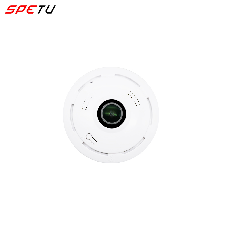 Caméra panoramique Spetu WiFi 360 degrés vue complète sans fil vidéo caméra IP Wi-Fi HD 960 P Smart home fente pour carte SD Mini caméra CCTV