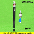 KELUSHI 5 mW Visual Fault Locator Fiber Optic Cable Tester 3-5 KM con adaptador FC-LC de fibra SC FC LC ST Universial conector